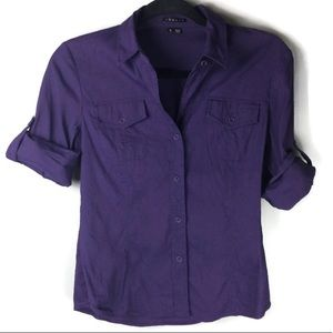 Theory Dervan Linen Roll Tab Button Up Size Small